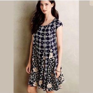 Anthropologie Maeve India Pleat Lace Back Dress